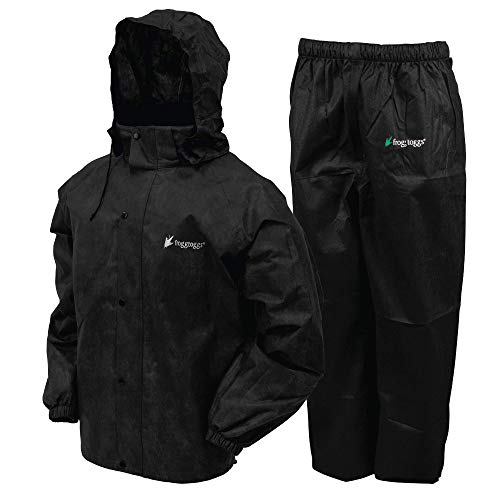 FROGG TOGGS Men's Classic All-Sport Waterproof Breathable Rain Suit, Black Jacket/Black Pants, X-Large