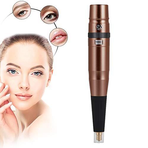 Semi-Permanent Tattoo Maschine, Super Low Noise Tattoo Pen für Augenbrauen Eyeline Lip Makeup Machine 100-240V(Kaffee + Grau)