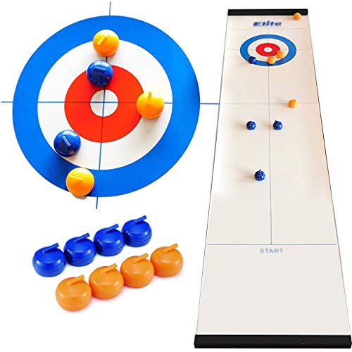 YYL Schnelles Sling Puck Spiel Tisch-Curling-Spiel Kompaktes Curling-Brettspiel mit 8 Shuffleboard Pucks für Kinder und Erwachsene Home School Reisegeschenk für Kinder Ab 5 Jahren