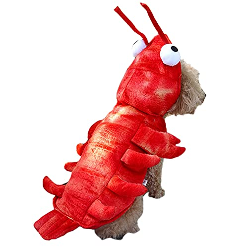 Kodervo Lobster Dog Costume – Halloween Dog Costume for Small Medium Large Dogs, Red Lobster Shaped Pet Cosplay Dress Adorable Cat Apparel Animal Warm Outfits Clothes