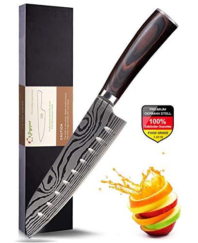 Joyspot Japanisches Santoku Messer, 7 inch Kochmesser Profi Messer Deutsche Karbon-Edelstahlmesser Extra Scharfe Messerklinge mit Ergonomischer Griff, Beste für Home Kitchen …