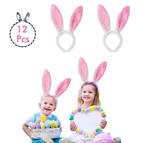 Amycute Plüsch Hase Ohren Haarbänder, 12 Stücke Hasenohren Haarreif ,Bunny Plüsch Haarreifen für Ostern Party Hochzeit Geburtstag Kostüm Cosplay.