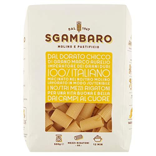 Pasta Sgambaro - Mezzi Rigatoni N. 64 - 100% Grano Duro Italiano - 4 Kg