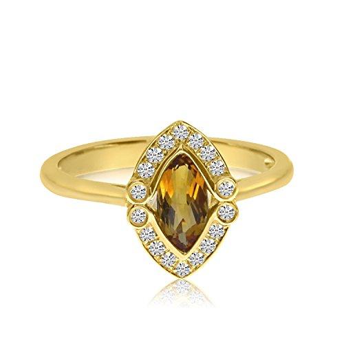 14K Amarillo Oro Marquis citrino y diamante anillo