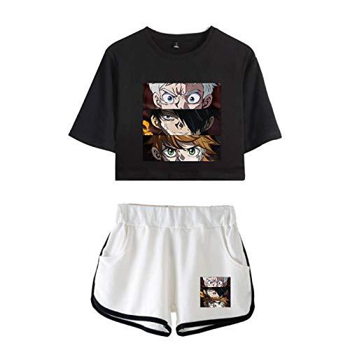 The Promised Neverland Crop Tops y Conjuntos de Pantalones Cortos para Mujeres Niñas, Summer Sexy Emma Norman Ray Pijamas Sueltos Ocasionales de Loungewear
