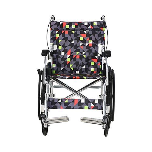 AKOC La Silla de Ruedas de Transporte Tiene un Respaldo Plegable, Asas Ajustables para Las piernas, Pedales Antideslizantes, Ruedas sólidas integradas de 20 Pulgadas y una Carga máxima de 100 kg
