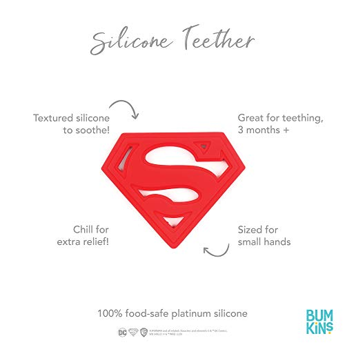 Product Image 3: Bumkins Silicone Teether, DC Comics Textured, Soft, Flexible, Bacteria Resistant – Superman
