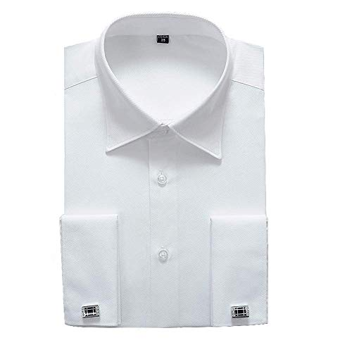 Alimens & Gentle French Cuff Regular Fit Dress Shirts (Cufflink Included) (14.5' Neck - 32'/33' Sleeve, White New)