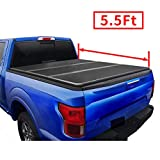 AUTOSTARLAND 5'5' Hard Fiberglass Tri-Fold Truck Bed Tonneau Cover Fits 2015-2021 F150 Supercrew Double Cab