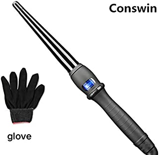 Conswin Instant Heat Curling Iron, Dual Voltage 0.75-1½ Inch Oval Temperature Adjustable Hair Curing Wand with Travel Bag and Heat Protective Glove