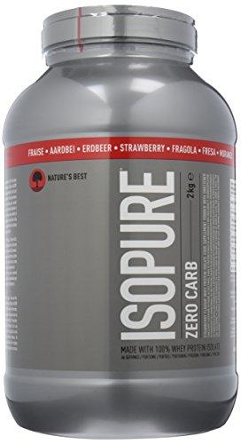 ISOPURE Zero Carb Whey Eiweiß Isolat Pulver (mit BCAAs, Zuckerarmes Protein Shake von Isopure) strawberry, 66 Portionen, 2kg