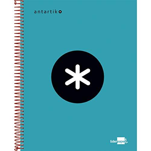 Liderpapel Cuaderno Espiral A5 Micro Antartik Tapa Forrada 120H 100 Gr Cuadro 5Mm 5 Bandas 6 Taladros Color Turquesa