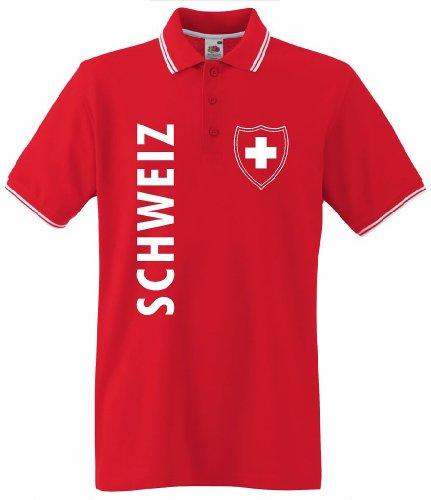 World-of-Shirt Herren T-Shirt Schweiz/Suisse Wappen Poloshirt|XL