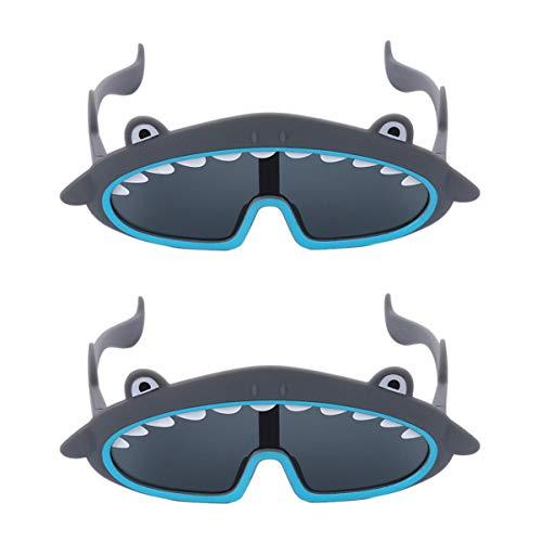 PRETYZOOM 2 Piezas Hark Sunglasses Divertido Shark Anteojos Novedad Gafas de Sol de Disfraces- Fiesta Prank Photo Props Gafas con Forma de Animales Gafas Trick Toys para Niños