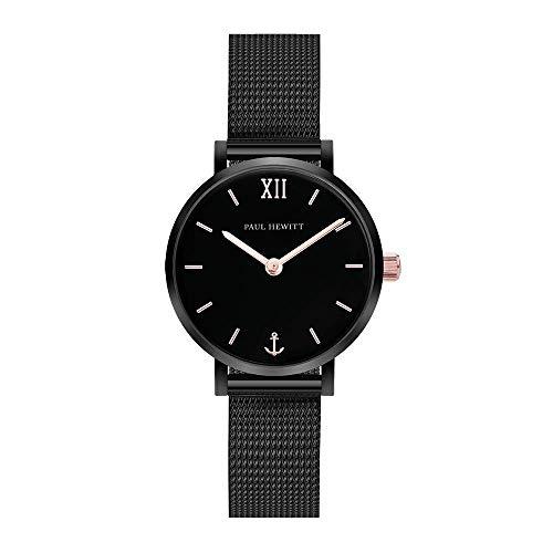 PAUL HEWITT Armbanduhr Damen Sailor Line Modest Black Sunray - Damen Uhr (Schwarz und Rose), Damenuhr Edelstahlarmband (Schwarz), schwarzes Ziffernblatt