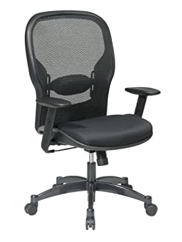 SPACE Seating Breathable Mesh Black Back and Padded Mesh Seat 2-to-1 Synchro Tilt Control Adjustable Arms and Lumbar Support with Gunmetal Finish Base Managers Chair
