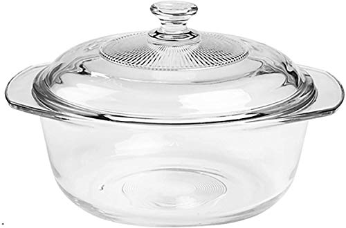 SSB Clear Glass Round Baking Dish with Lid,Deep Casserole Dish with Handles,Heat Cold Proof Salad Bowl Microwave Oven Freezer & Dishwasher Safe-Round