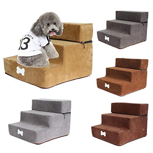 wisedwell Hundetreppe für kleine Hunde und Katzen Grau, Khaki, Braun, Kaffee mit 3 Stufen Haustier Treppe Abnehmbar Treppenstufe