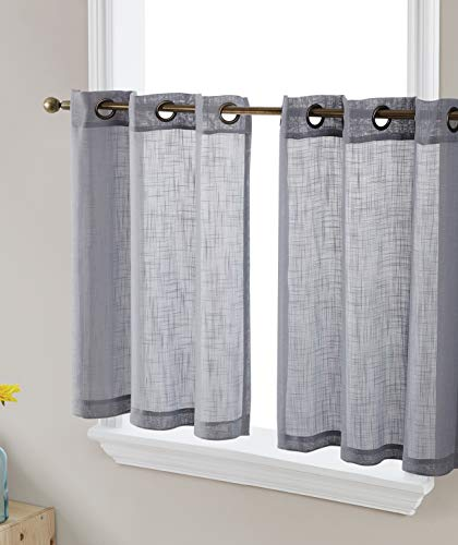 HLC.ME Abbey Faux Linen Textured Semi Sheer Privacy Light Filtering Transparent Grommet Short Thick Cafe Curtain Tiers for Small Windows, Kitchen & Bathroom, Set of 2 (35 W x 36 L, Grey)