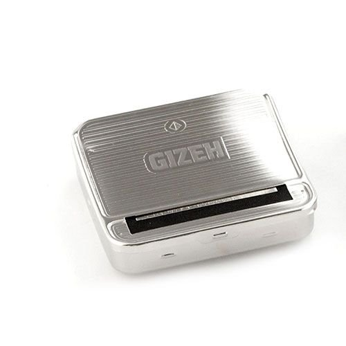 Zigarettenrollbox Gizeh aus Metall in silber gemustert