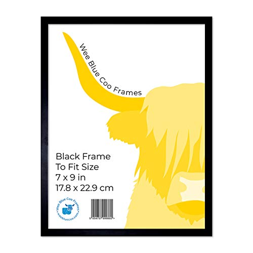 Wee Blue Coo 9x7 Black Wooden Picture Frame 9 x 7 Inch (22.86 x 17.18cm) Picture Framing Glass Photo Frame