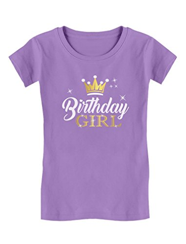 Birthday Girl Shirt Party Outfit Princess Crown Girls Fitted T-Shirt L (7-8) Lavender