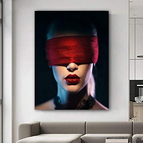 Flduod Girl rode doek en lippen Moderne decoratieve prints op canvas Mooie vrouw posters voor woonkamer15.7x23.6inch