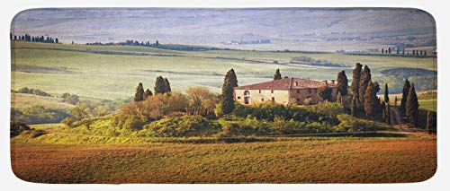 """Lunarable Tuscan Kitchen Mat, Tuscany Seen from Stone Village of Montepulciano Italy in Cloudy Day, Plush Decorative Kitchen Mat with Non Slip Backing, 47"""" X 19"""", Green Brown"""