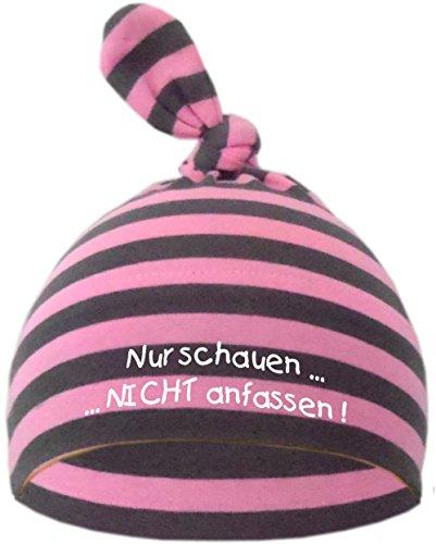 KLEINER FRATZ Baby Mütze Bedruckt mit NUR SCHAUEN - Nicht ANFASSEN (Farbe rosa/grau) (Gr. 0-74)