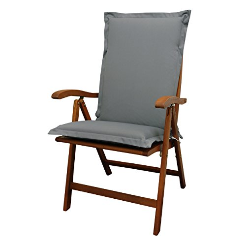 IND-70422-AUHL Sitzauflage Hochlehner Premium, extra dicke Polsterauflage mit Reißverschluss, 120 x 50 x 9 cm, Grau