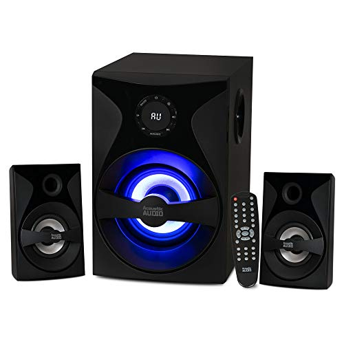 Acoustic Audio by Goldwood Bluetooth 2.1 Surround Sound System with LED Light Display, FM Tuner, USB/SD Card Inputs - Multimedia PC Speaker Set with Subwoofer, Includes Remote Control - AA2400 Black