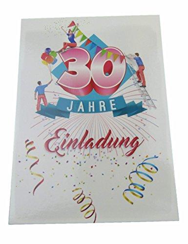 Deko-Schulze Einladungskarten Geburtstag 30 Jahre mit Text auf der Rückseite. 10 Stück im Set zum runden Geburtstag. Ausfüllen, überreichen oder mit der Post verschicken. (30 Geburtstag)