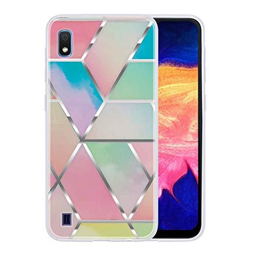 Yobby Kompatibel mit Samsung Galaxy A10 Hülle,Geometrische Muster Marmor Handyhülle Ultra Slim Weich Silikon Stoßfest TPU Schutzhülle für Samsung Galaxy A10-Bunt