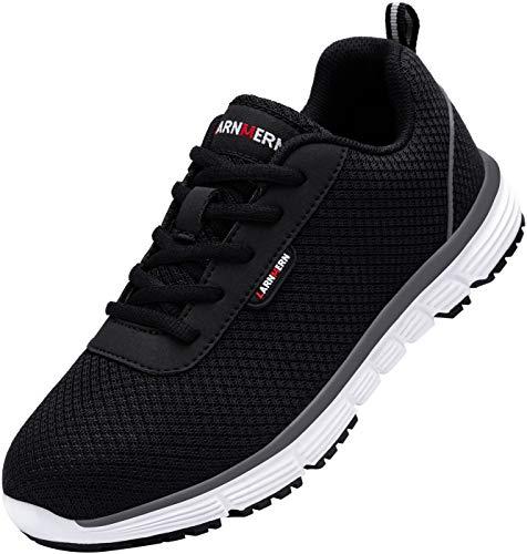 Zapatillas de Seguridad Mujer L8038 S1 SRC Zapatos de Trabajo con Punta de Acero Ultra Liviano Suave y cómodo Transpirable Antideslizante(39 EU,Blanco Negro)