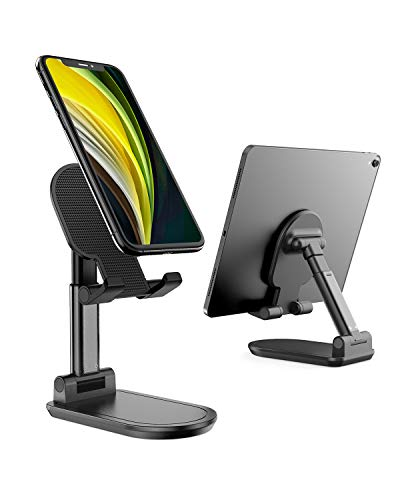 Cell Phone Stand, UXD Adjustable Phone Stand for Desk, Foldable Tablet Stand Holder for iPhone 12 Pro Max / 12 Mini / 11 SE X XS Samsung Galaxy S20+ S20 S10+ S10 (Black)