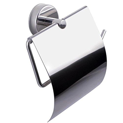 Kapitan Toilettenpapierhalter Selbstklebend 18/10 Edelstahl WC Papierhalter mit Deckel , Wandmontage, Poliert, Made in der EU, 20 Jahre Garantie