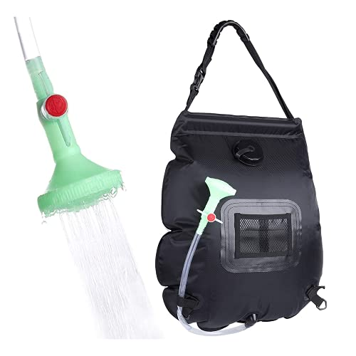 Zueyen Bolsa de ducha solar de 5 galones/20 l, con calefacción solar para camping, bolsa de ducha – ideal para viajes, senderismo, mochilero (con boquilla de encendido/apagado)