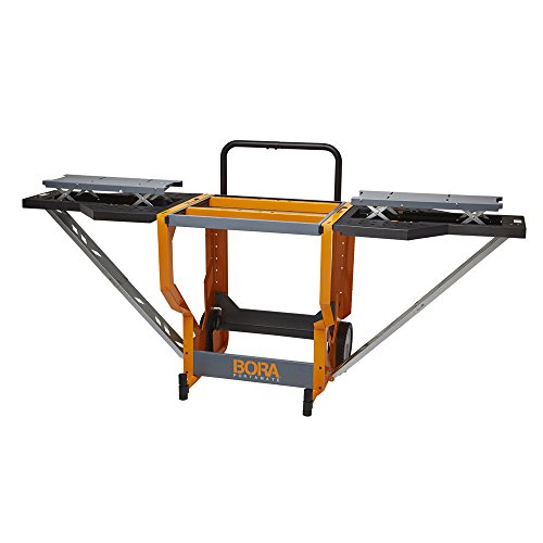 Bora Portamate - PM-8000 Miter Saw Stand Work Station   Mobile Rolling Table Top Workbench   Orange & Grey with Folding Wing Extensions Orange/Black