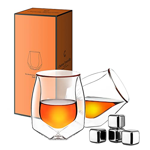 Whiskey Glasses Set of 2 With Whiskey Stones, Lead-Free Hand Blown Double Walled Glass With Luxurious Gift Box For Scotch, Bourbon ,Perfect Fahter's Day Gift For Men