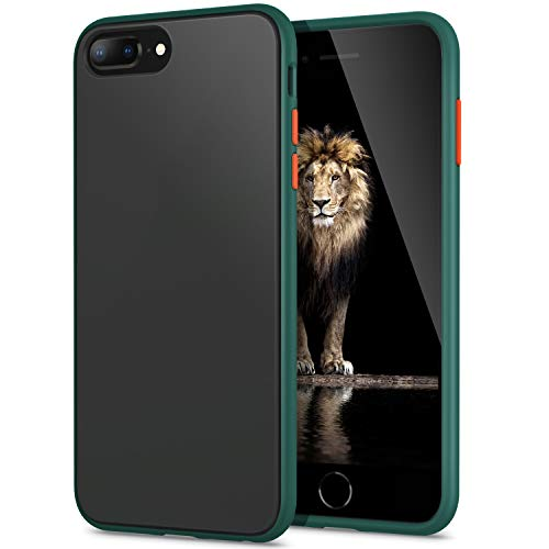 YATWIN Funda para iPhone 8 Plus, Funda iPhone 7 Plus Transparente Mate Case, [Shockproof Style] TPU Bumper Rubber y Botones Coloridos, Carcasa Protectora para Funda iPhone 7/8 Plus- Verde Pino