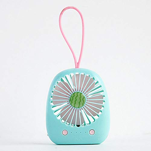 LIUJUAN Ventilador Cuello Mini Ventilador Recargable USB Estudiante Portátil Portátil De Dibujos Animados Portátil Lindo Escritorio Pequeño Ventilador-Pistacho 【Sandía】