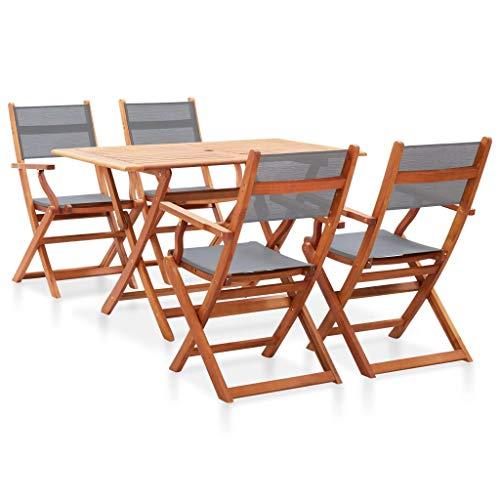 vidaXL - Conjunto de comedor de madera de eucalipto sólido, 5 piezas, conjunto de comedor y sillas de comedor de jardín, mesa y sillas de cena, terraza gris