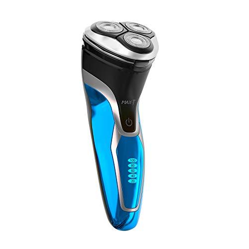 MAX-T Rasierer, 3D ProSkin IPX7 Wasserdicht Wiederaufladbarer und Kabelloser Elektrorasierer mit Pop-up Präzisionstrimmer, Nass und Trockenrasierer Rasierer Herren Elektrisch, Schwarz und Blau