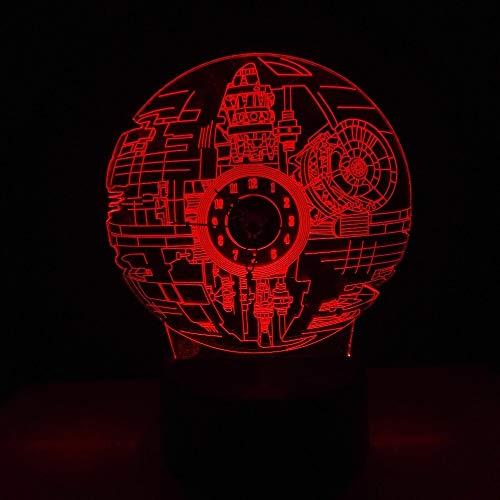 3D-Nachtlicht,Uhr Todesstern-LED RGB 3D für Fans, Film mit Nachtlicht der Uhrmacherlampe, Schreibtischtabelle 7 Farben Glanz-Weihnachtsgeschenkkinderspielwaren
