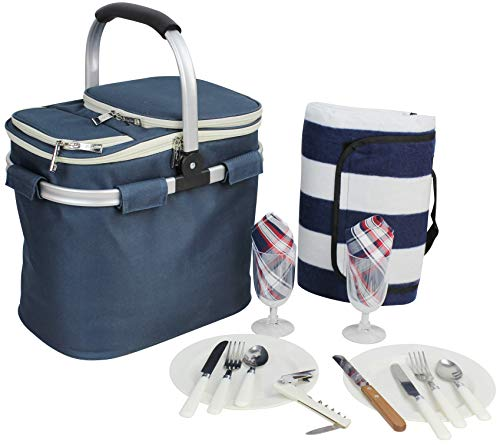 Picnic Basket for 2 Beautiful Insulated Tote Bag Kit Insulated Lunch Tote for Women & Men Picnic...
