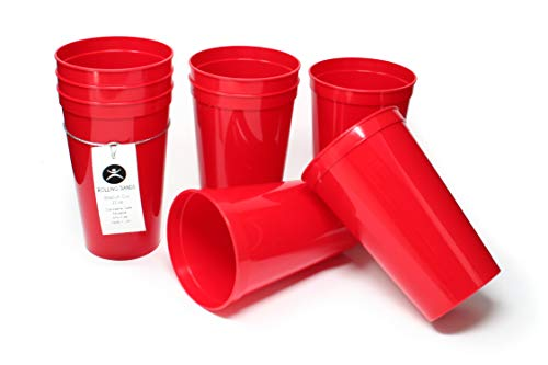 Rolling Sands 22 Ounce Reusable Plastic Stadium Cups Red, 8 Pack, Made in USA, BPA-Free Dishwasher Safe Plastic Tumblers