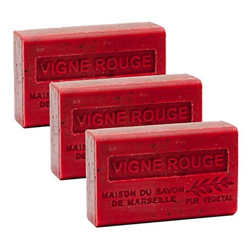 Französische Seife, 3 x 125 g - Rotwein (Vigne Rouge) - Sheabutter - La Maison du Savon de Marseille