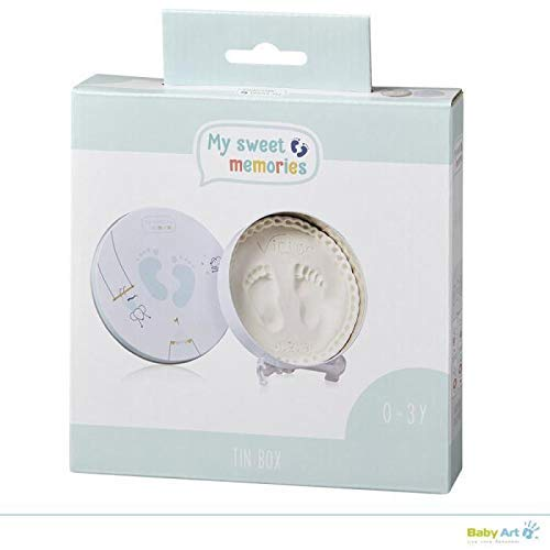 My Sweet Memories – Caja de regalo de metal, redonda, caja de regalo especial con impresión de yeso para crear huellas de bebé o huellas de mano, diseño de círculos azules, color azul