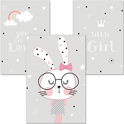 artpin® 3er Set Poster Kinderzimmer Deko - A4 Bilder Babyzimmer - Wandbild Grau Rosa Mädchen(P9)