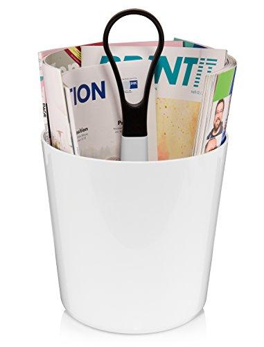 Royal VKB Tragbarer Zeitschriftenhalter aus Kunststoff | Maße des Zeitungsständers ØxH 21,5x22 cm | Mit praktischen Griff | Stilvoller Zeitschriftensammler in Hochglanzoptik